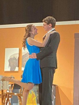 Elaine Harper (Hannah Steinlauf '22) and Mortimer Brewster (Matthew Sudnick '22) celebrate their engagement